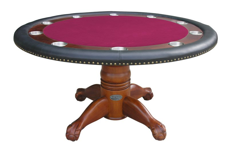 Berner billiards 60 round poker table in antique walnut for Circular pool table