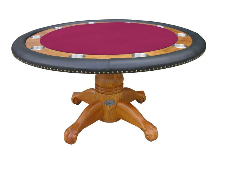 Berner billiards 60 round poker table in oak finish for 10 person poker table top