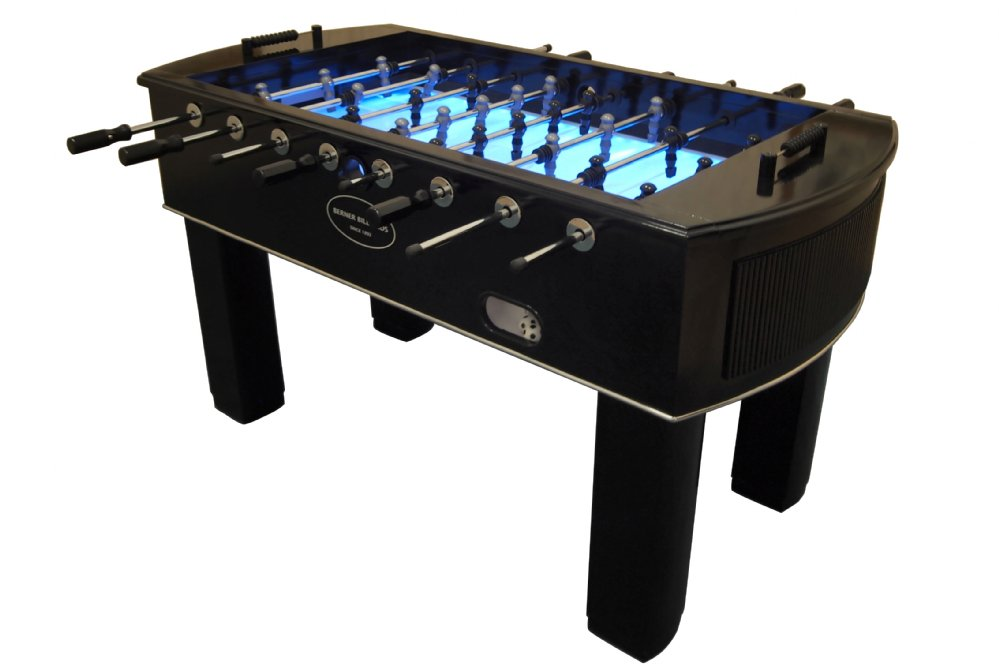 u0026quot;The Neonu0026quot; Foosball Table in Black with Light Up Glow Playfield by Berner Billiards